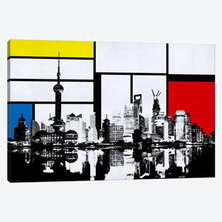 Shanghai, China Skyline with Primary Colors Background Canvas Print #SKY29} by iCanvas Art Print
