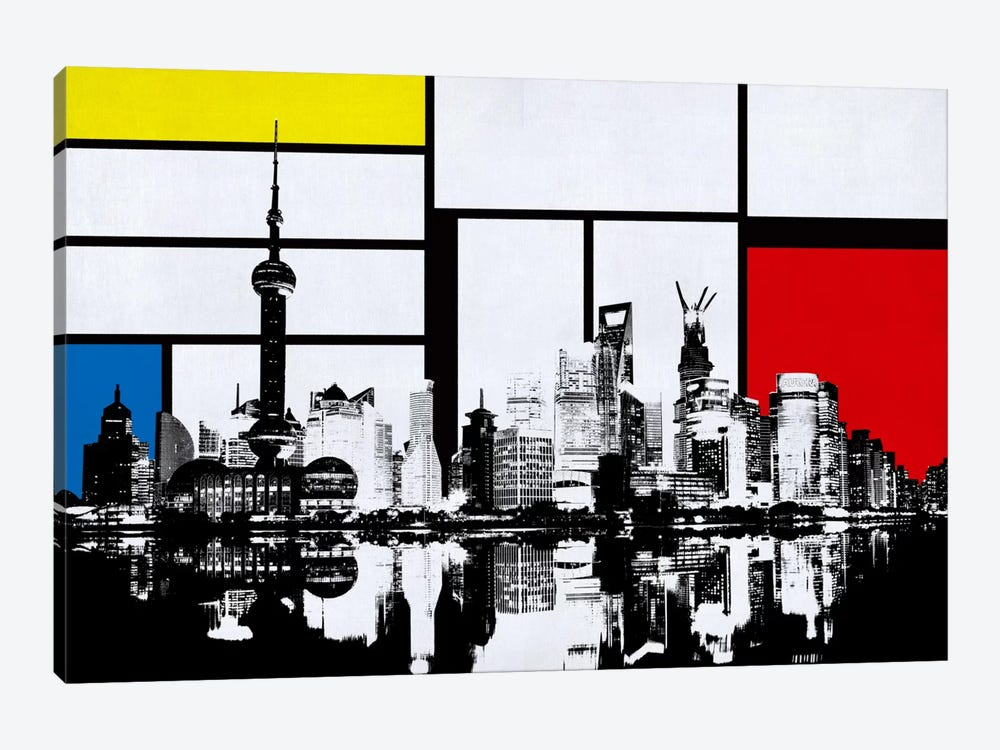 Shanghai, China Skyline with Primary Colors Background by iCanvas 1-piece Canvas Print