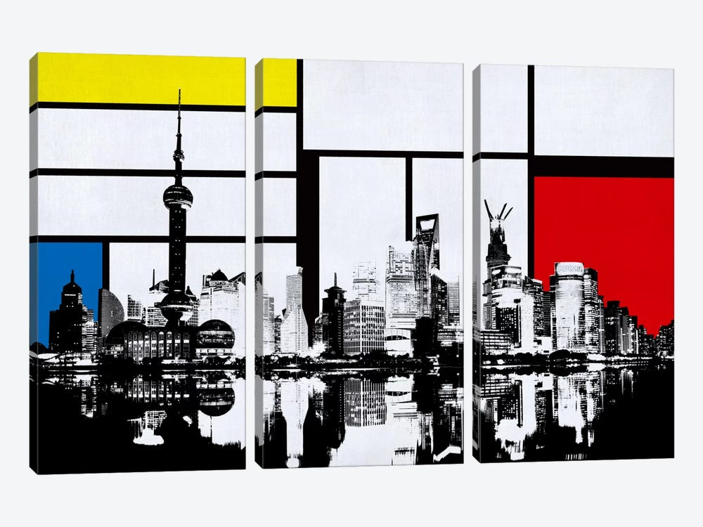 Shanghai, China Skyline with Primary Colors Background by iCanvas 3-piece Canvas Print