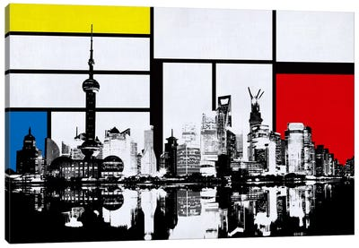Shanghai, China Skyline with Primary Colors Background Canvas Art Print