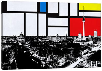 Berlin, Germany Skyline with Primary Colors Background Canvas Art Print