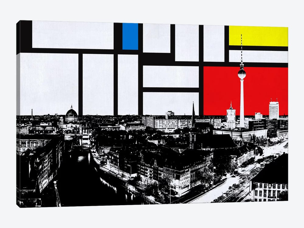 Berlin, Germany Skyline with Primary Colors Background by iCanvas 1-piece Canvas Print