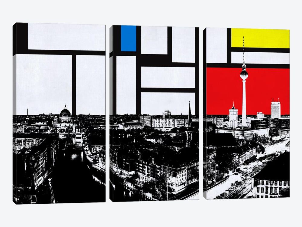 Berlin, Germany Skyline with Primary Colors Background by iCanvas 3-piece Art Print
