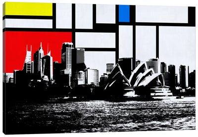 Sydney, Australia Skyline with Primary Colors Background Canvas Art Print