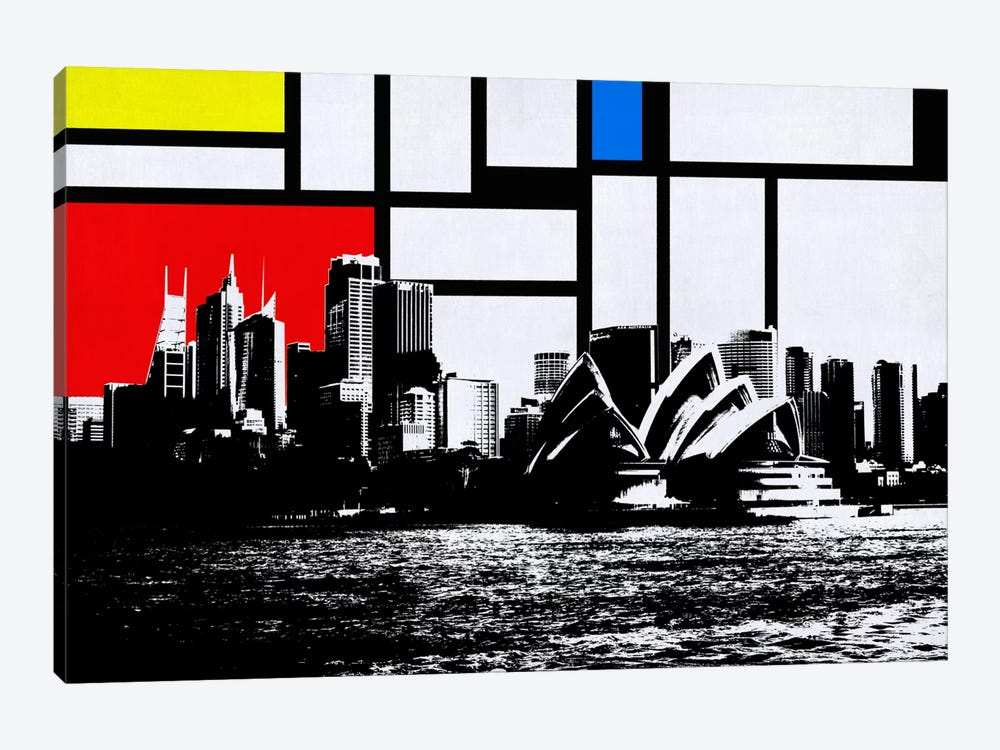 Sydney, Australia Skyline with Primary Colors Background 1-piece Art Print