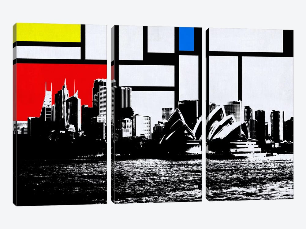 Sydney, Australia Skyline with Primary Colors Background 3-piece Canvas Print