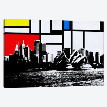 Sydney, Australia Skyline with Primary Colors Background 3-Piece Canvas #SKY30} by Unknown Artist Canvas Art