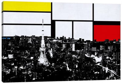Tokyo, Japan Skyline with Primary Colors Background Canvas Art Print