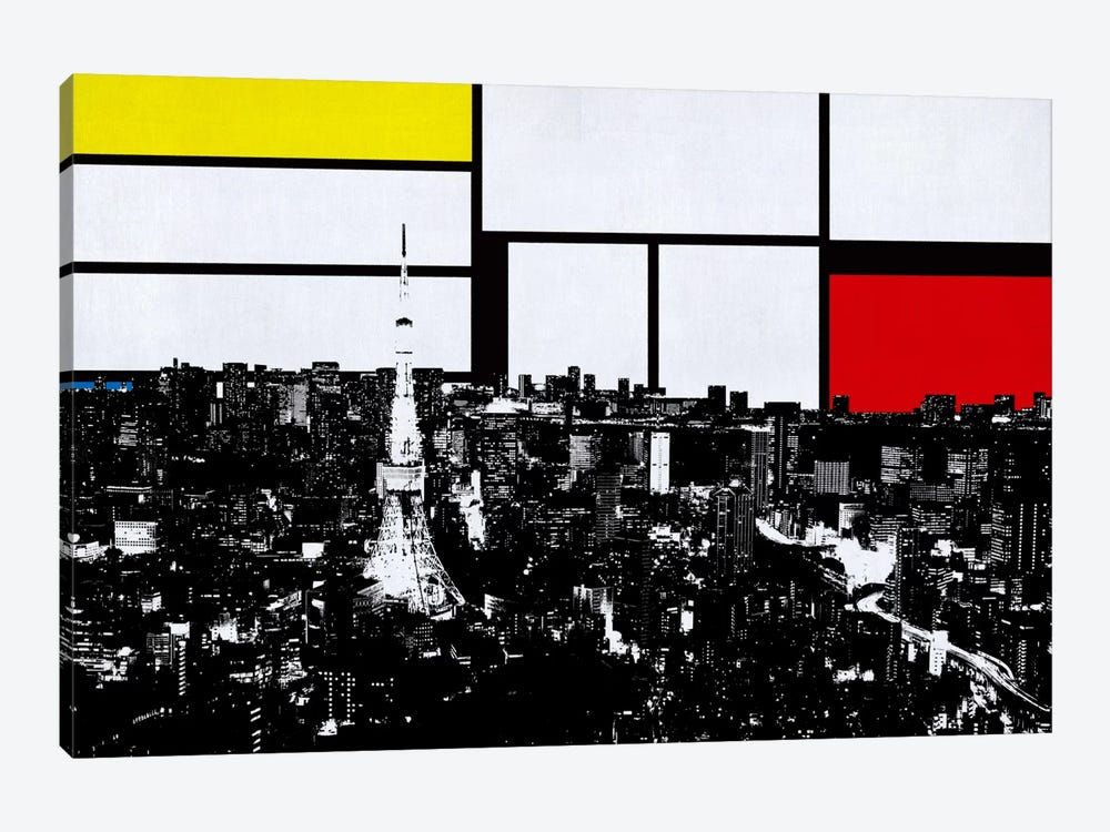 Tokyo, Japan Skyline with Primary Colors Background by iCanvas 1-piece Canvas Art