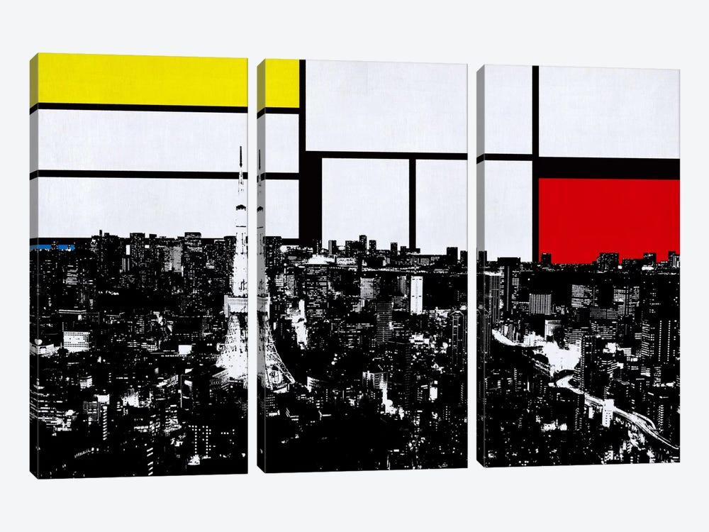 Tokyo, Japan Skyline with Primary Colors Background by iCanvas 3-piece Canvas Art