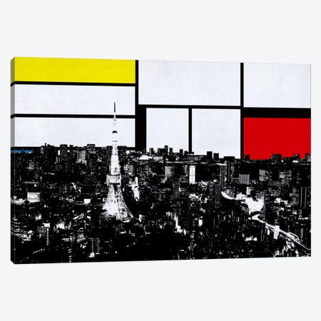 Tokyo, Japan Skyline with Primary Colors Background Canvas Print #SKY31} by Unknown Artist Canvas Art