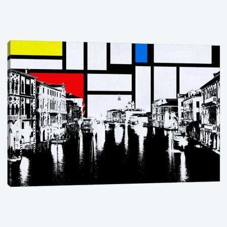 Venice, Italy Skyline with Primary Colors Background Canvas Print #SKY32} by Unknown Artist Canvas Wall Art