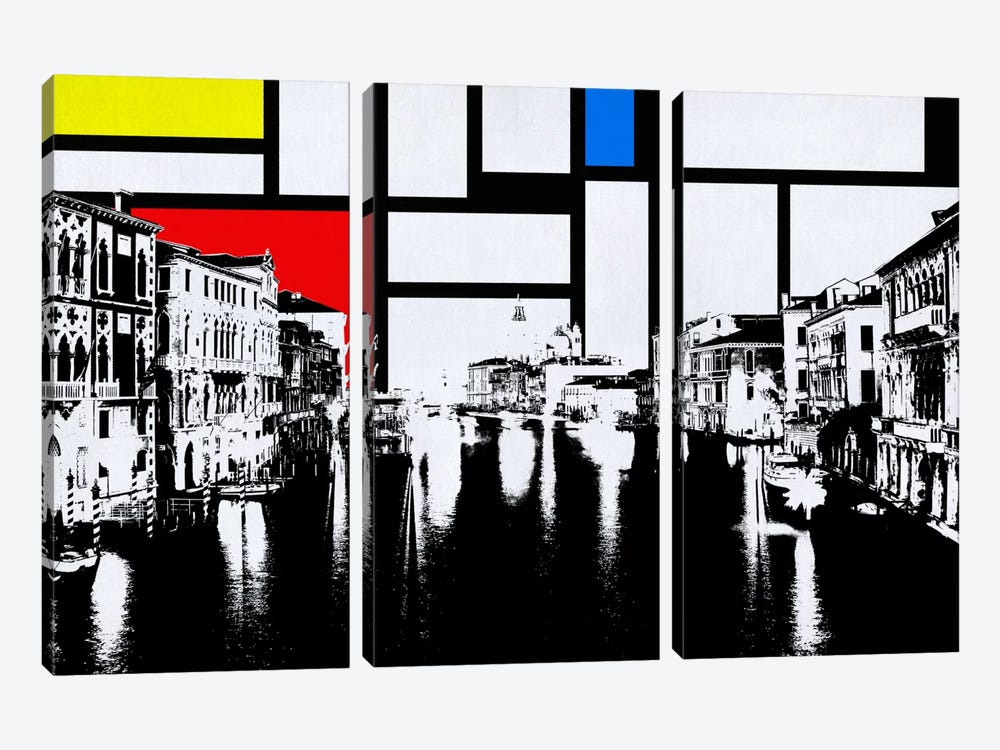 Venice, Italy Skyline with Primary Colors Background by iCanvas 3-piece Canvas Art Print