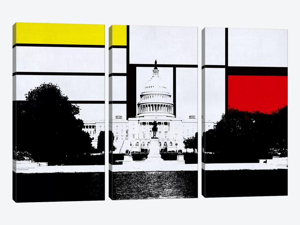 Washington, DC Skyline with Primary Colors Background by iCanvas 3-piece Canvas Wall Art