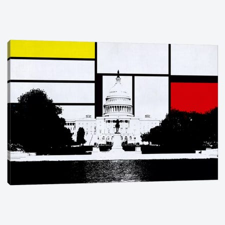 Washington, DC Skyline with Primary Colors Background Canvas Print #SKY33} by Unknown Artist Canvas Artwork