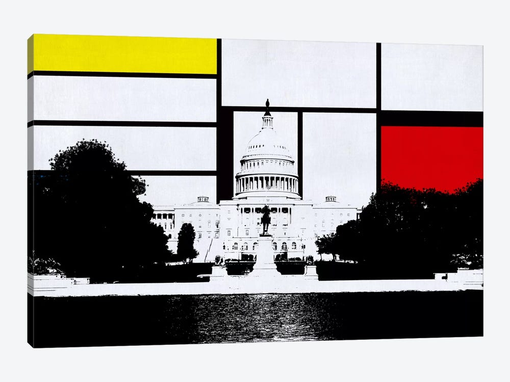 Washington, DC Skyline with Primary Colors Background by Unknown Artist 1-piece Canvas Artwork
