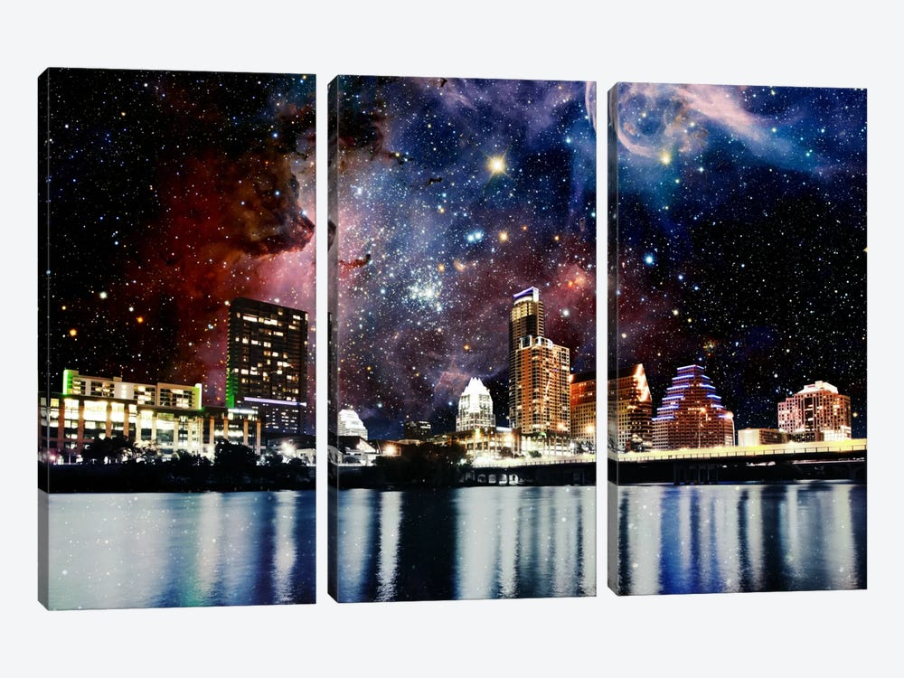 Austin, Texas Carina Nebula Skyline by 5by5collective 3-piece Canvas Print