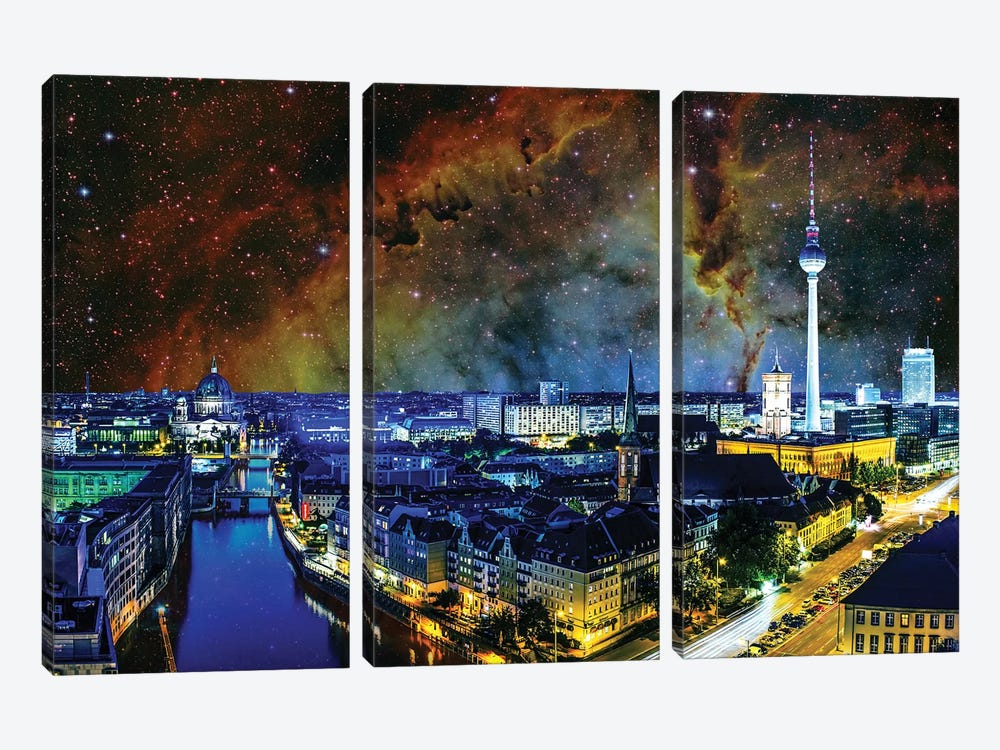 Berlin, Germany Elephant's Trunk Nebula Skyline 3-piece Canvas Art