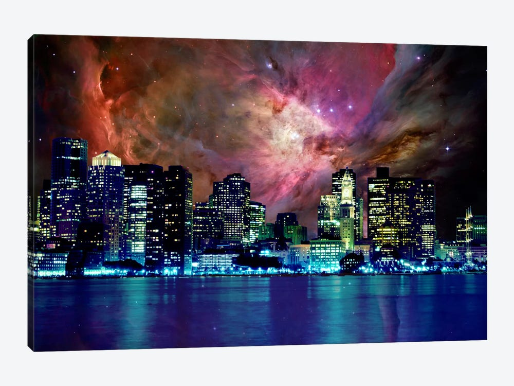 Boston, Massachusetts Orion Nebula Skyline by 5by5collective 1-piece Canvas Print