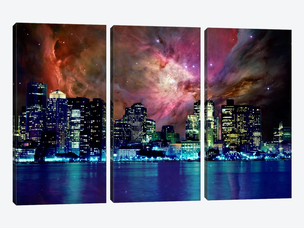 Boston, Massachusetts Orion Nebula Skyline by 5by5collective 3-piece Canvas Print