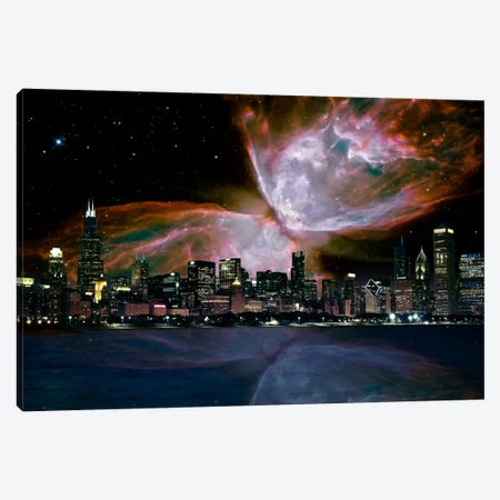 Chicago, Illinois Butterfly Nebula Skyline Canvas Print #SKY37} by 5by5collective Canvas Print
