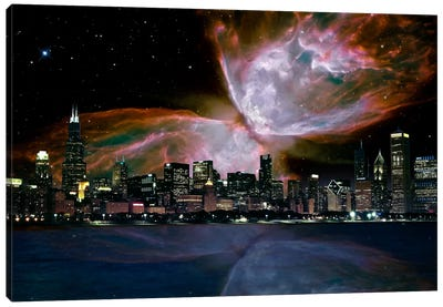 Chicago, Illinois Butterfly Nebula Skyline Canvas Art Print