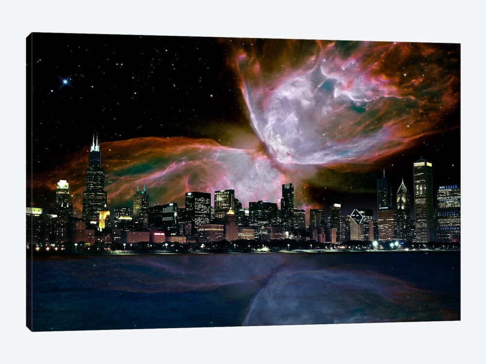 Chicago, Illinois Butterfly Nebula Skyline by iCanvas 1-piece Canvas Wall Art