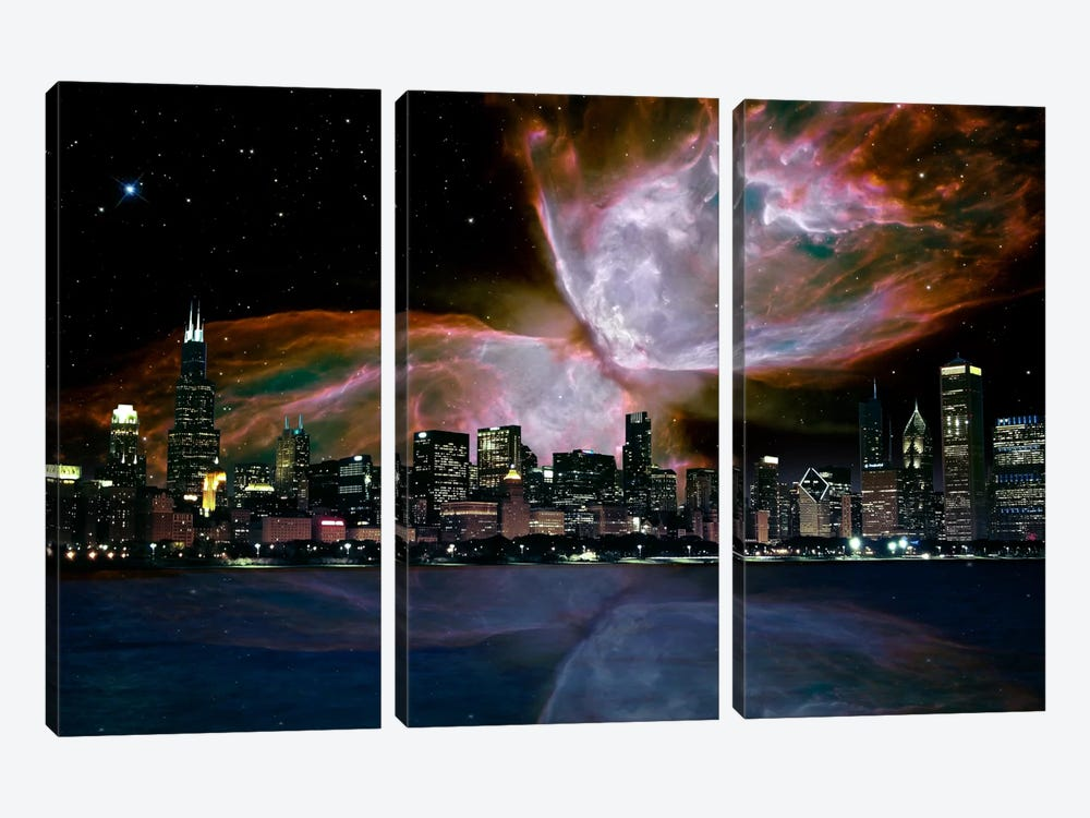 Chicago, Illinois Butterfly Nebula Skyline by iCanvas 3-piece Canvas Artwork