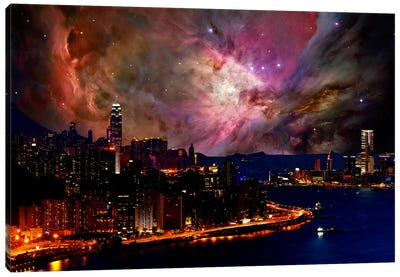 Hong Kong, China Orion Nebula Skyline Canvas Art Print