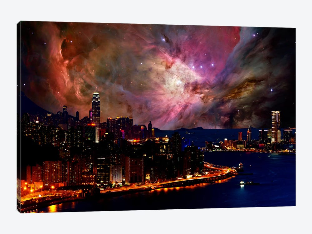 Hong Kong, China Orion Nebula Skyline by 5by5collective 1-piece Canvas Art Print