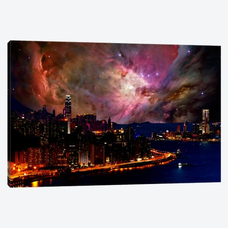 Hong Kong, China Orion Nebula Skyline Canvas Print #SKY38} by 5by5collective Canvas Art