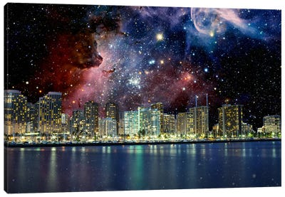 Honolulu, Hawaii Carina Nebula Skyline Canvas Print #SKY39