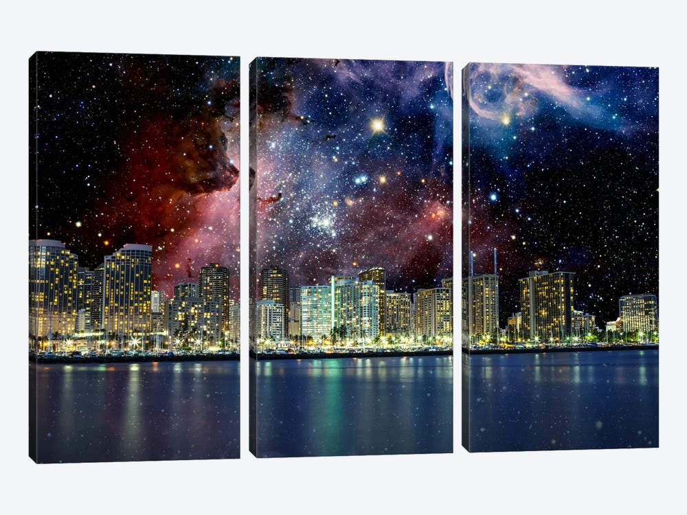 Honolulu, Hawaii Carina Nebula Skyline by iCanvas 3-piece Canvas Artwork