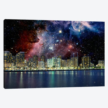Honolulu, Hawaii Carina Nebula Skyline Canvas Print #SKY39} by 5by5collective Canvas Artwork
