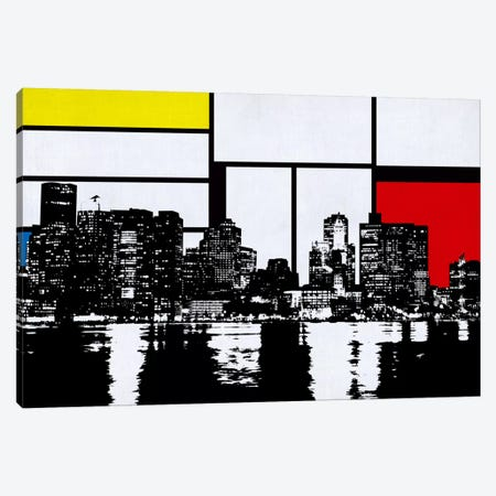 Boston, Massachusetts Skyline with Primary Colors Background Canvas Print #SKY3} by iCanvas Canvas Print