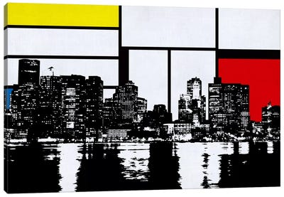 Boston, Massachusetts Skyline with Primary Colors Background Canvas Print #SKY3