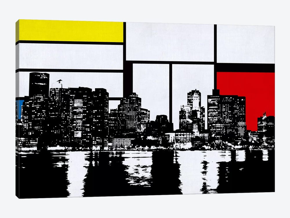 Boston, Massachusetts Skyline with Primary Colors Background by iCanvas 1-piece Canvas Art