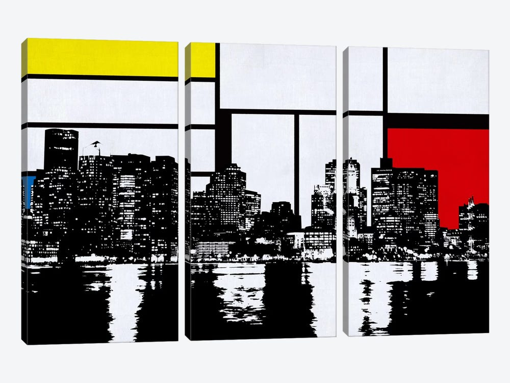 Boston, Massachusetts Skyline with Primary Colors Background by iCanvas 3-piece Canvas Artwork