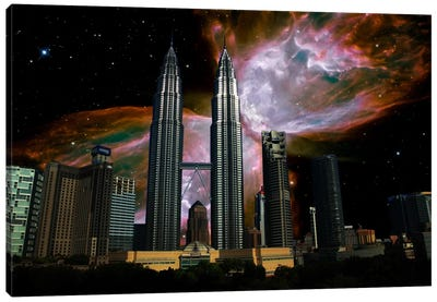 Kuala Lumpur, Malaysia City Skyline Butterfly Nebula Skyline Canvas Print #SKY41