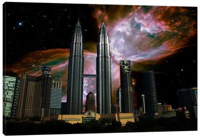 Kuala Lumpur, Malaysia City Skyline Butterfly Nebula Skyline Canvas Art Print