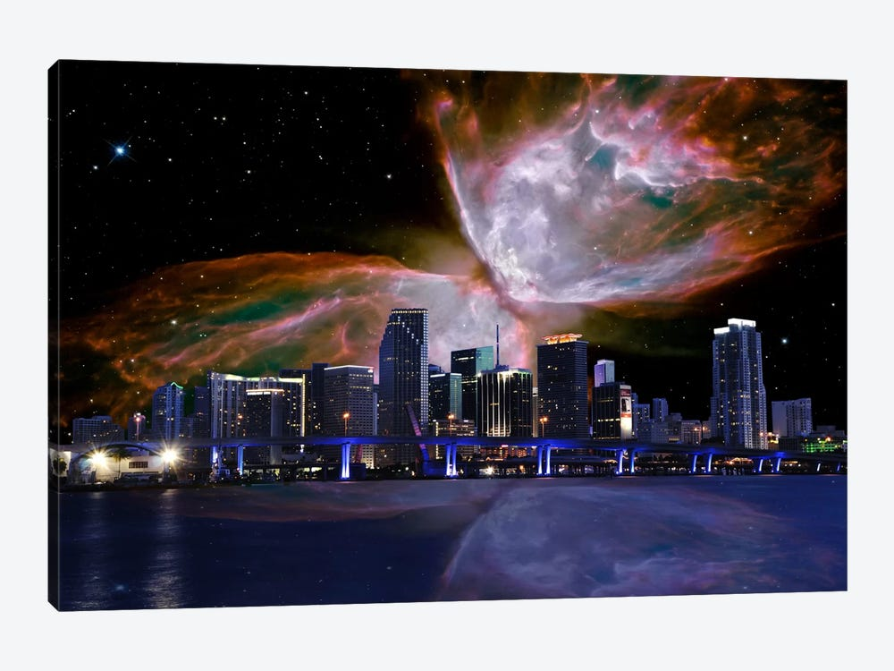 Miami, Florida Butterfly Nebula Skyline by 5by5collective 1-piece Canvas Wall Art