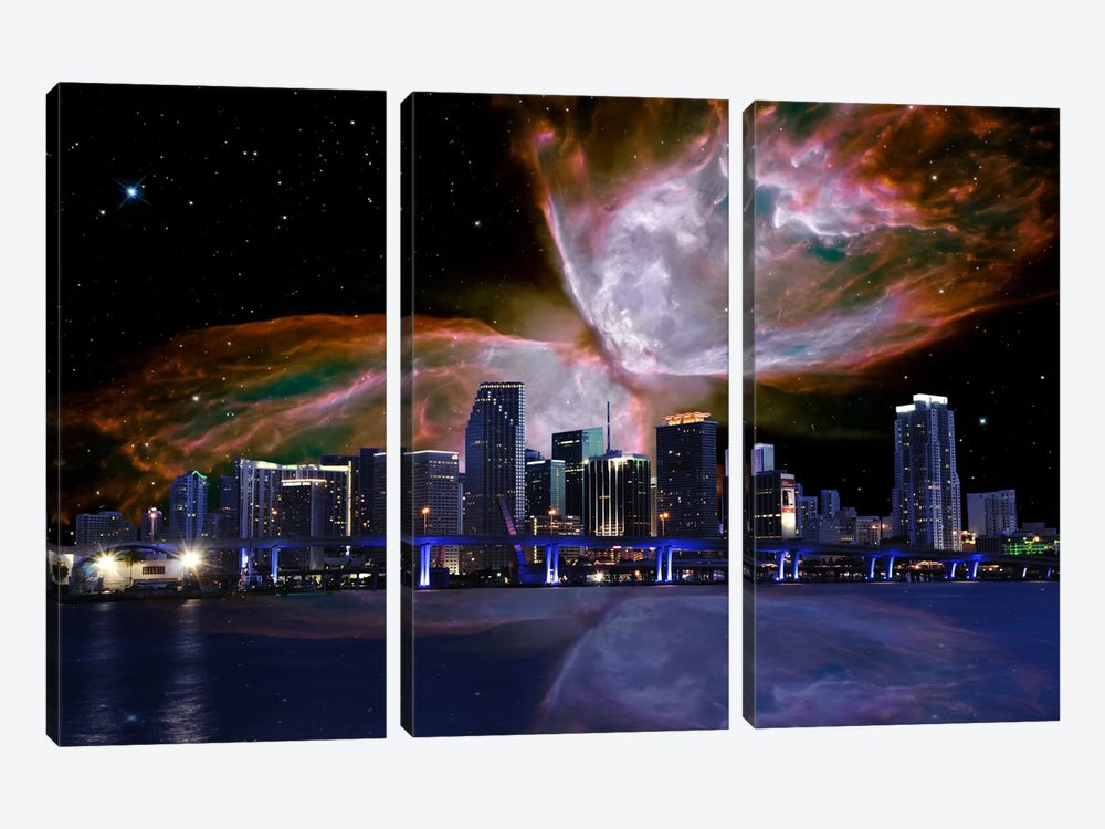 Miami, Florida Butterfly Nebula Skyline by 5by5collective 3-piece Canvas Wall Art