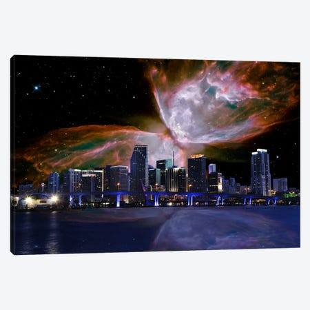 Miami, Florida Butterfly Nebula Skyline Canvas Print #SKY46} by 5by5collective Canvas Art