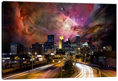 Minneapolis, Minnesota Orion Nebula Skyline Canvas Art Print
