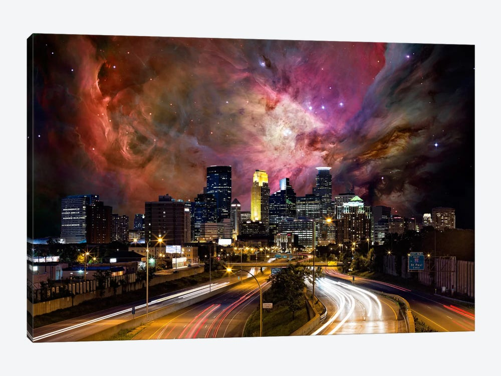 Minneapolis, Minnesota Orion Nebula Skyline by 5by5collective 1-piece Art Print