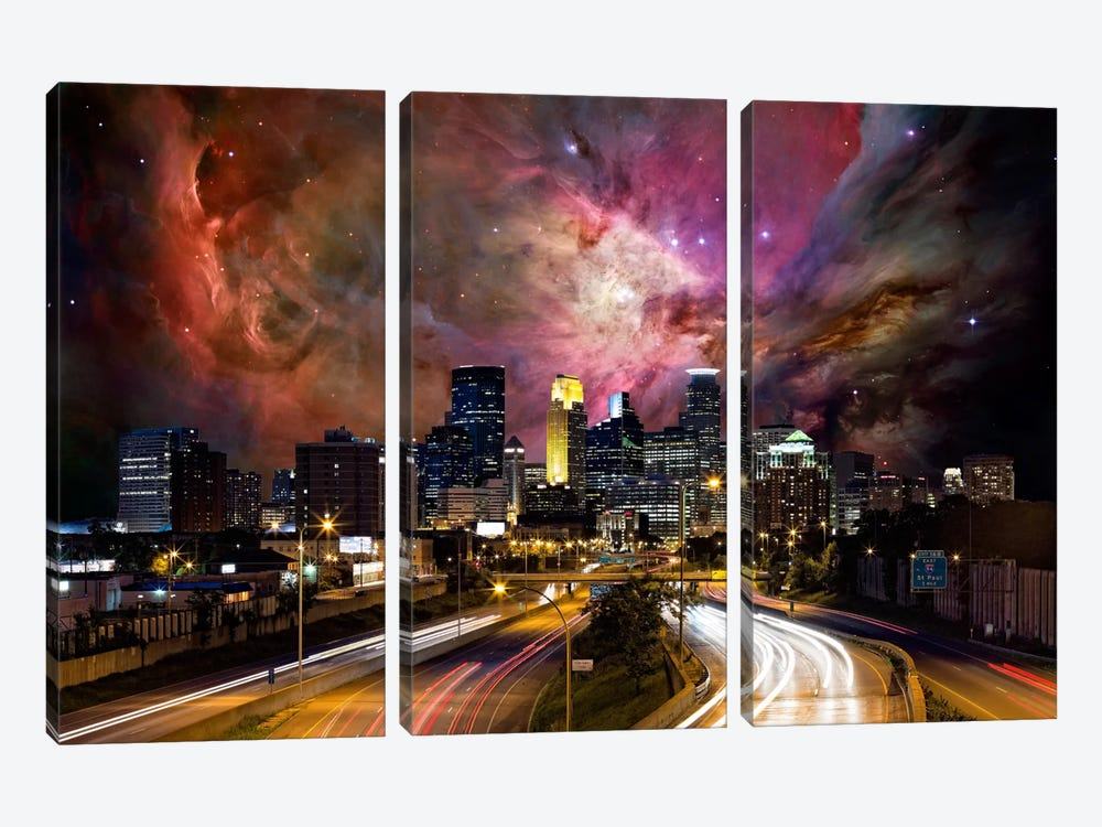 Minneapolis, Minnesota Orion Nebula Skyline by 5by5collective 3-piece Canvas Print