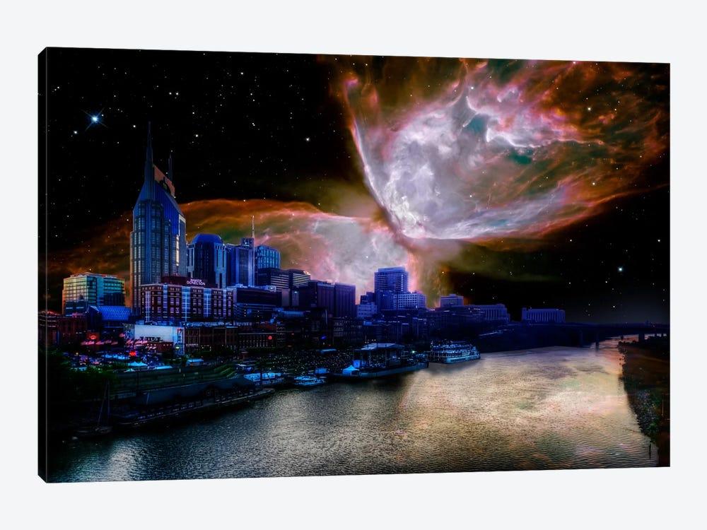Nashville, Tennessee Butterfly Nebula Skyline by 5by5collective 1-piece Canvas Print