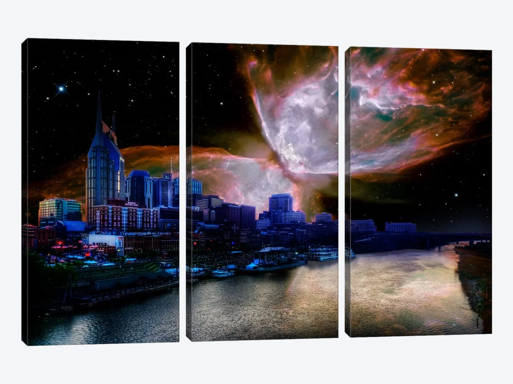 Nashville, Tennessee Butterfly Nebula Skyline by 5by5collective 3-piece Canvas Art Print