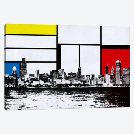 Chicago, Illinois Skyline with Primary Colors Background Canvas Print #SKY4} by iCanvas Canvas Art
