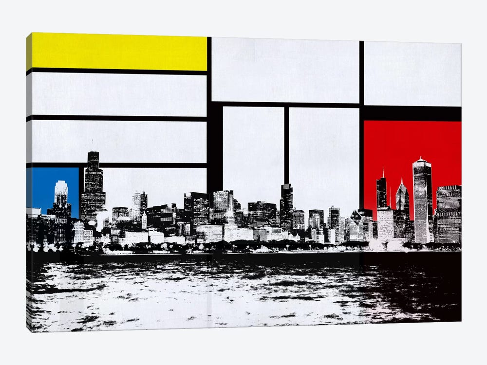 Chicago, Illinois Skyline with Primary Colors Background by iCanvas 1-piece Canvas Art Print